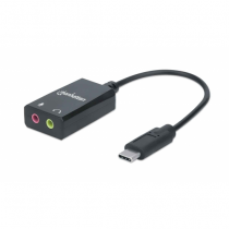 Manhattan USB-C auf Klinke Audioadapter, USB-C Stecker auf 3,5 mm Klinkenbuchsen für Mikrofoneingang und Audioausgang, schwarz