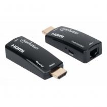 Manhattan 1080p HDMI over Ethernet Extender Kit in kompaktem Format, HDMI-Signalverlängerung mit 1080p@60Hz bis zu 60 m über ein einzelnes Cat6-Netzwerkkabel, Sender- und Empfängermodul, Power over Cable, ultrakompaktes Format, schwarz