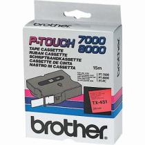 Brother TX-451 Etiketten erstellendes Band Schwarz auf rot