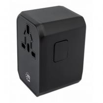 Manhattan Power Delivery USB-Ladegerät und Reiseadapter, USB-C Power Delivery-Port (PD 3.0) mit bis zu 45 W, drei USB-A-Ports mit bis zu 2,4 A/5 V gesamt, Stecker für EU, UK & US, schwarz