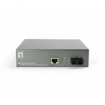 LevelOne 10/100BASE-TX auf 100BASE-FX Multi-Mode SC Fiber Konverter (mit PoE Injektor)
