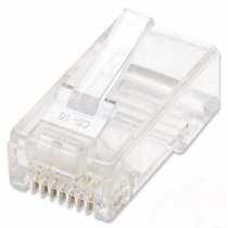 Intellinet 100er-Pack Cat5e RJ45 Modularstecker, UTP, 2-Punkt-Aderkontaktierung, für Litzendraht, 100 Stecker pro Becher